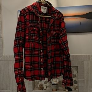 Abercrombie Red Flannel Plaid Shirt